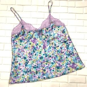 Vintage purple blue floral sleep tanktop